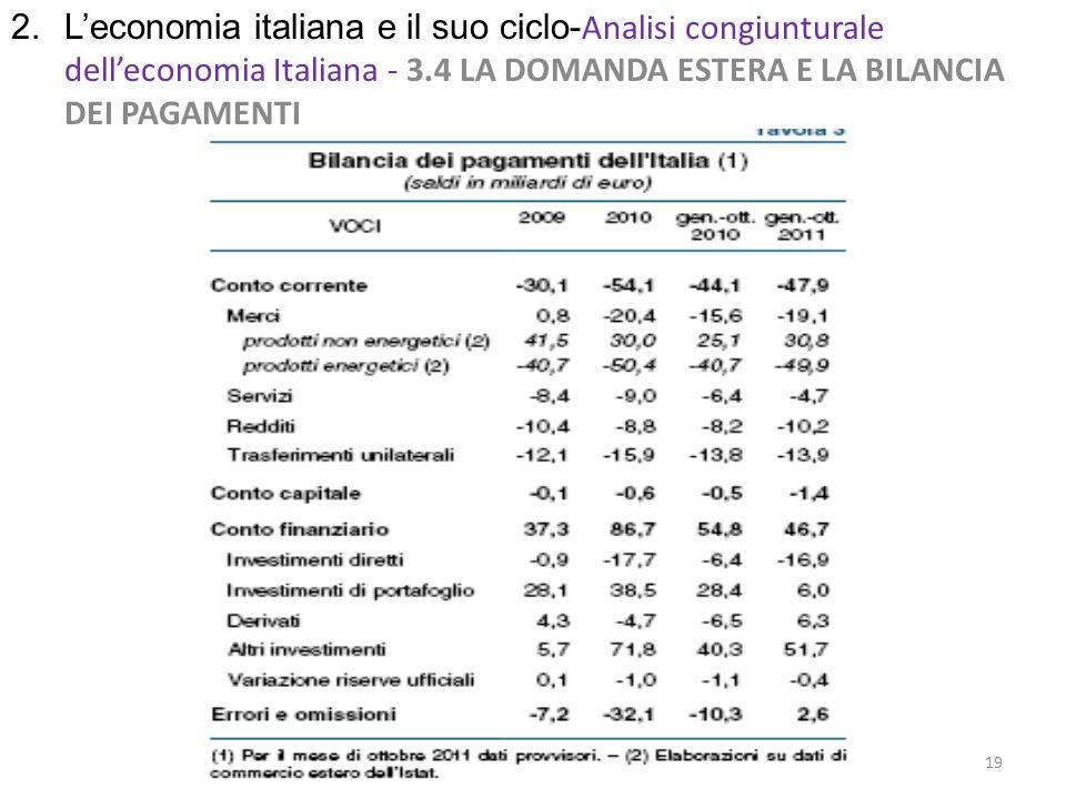 2. Leconomia italiana e il suo ciclo- Analisi congiunturale delleconomia Italiana - 3.4 LA DOMANDA ESTERA E LA BILANCIA DEI PAGAMENTI 19