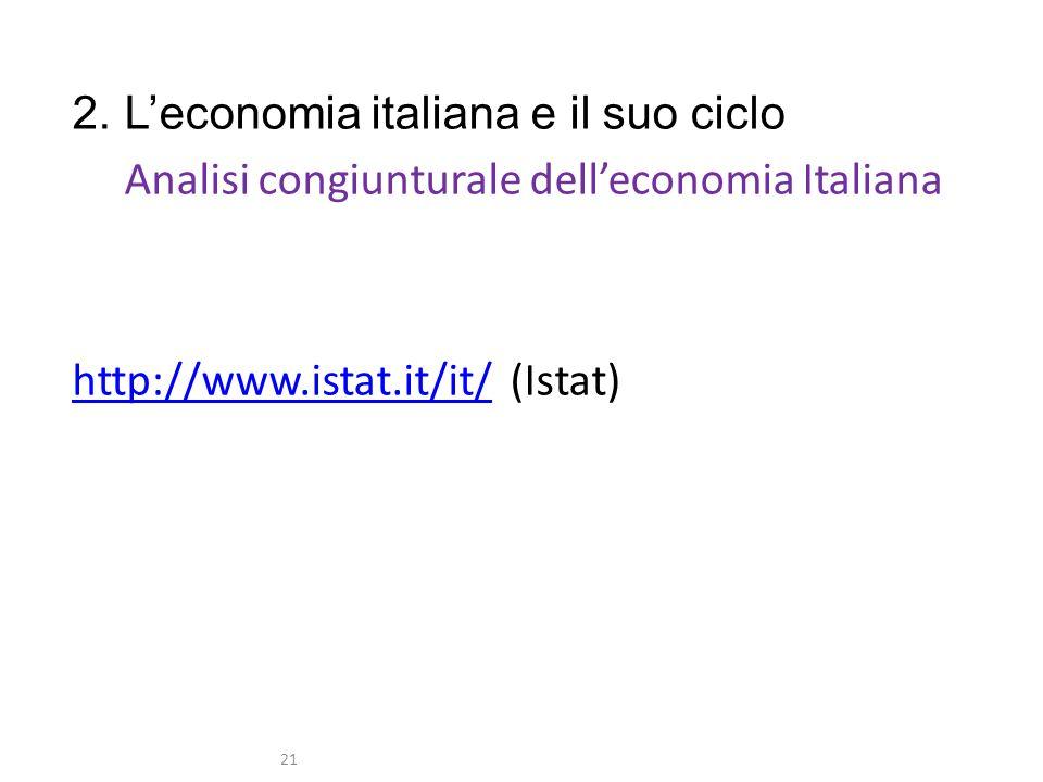 2. Leconomia italiana e il suo ciclo Analisi congiunturale delleconomia Italiana http://www.istat.it/it/http://www.istat.it/it/ (Istat) 21