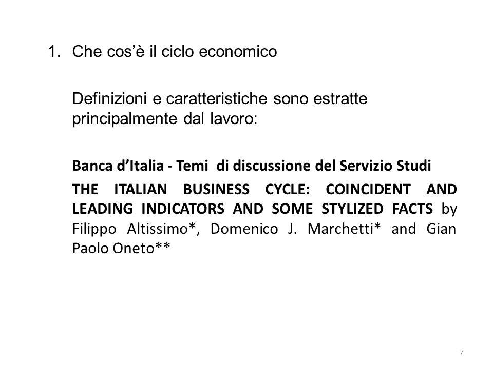 1.Che cosè il ciclo economico Definizioni e caratteristiche sono estratte principalmente dal lavoro: Banca dItalia - Temi di discussione del Servizio
