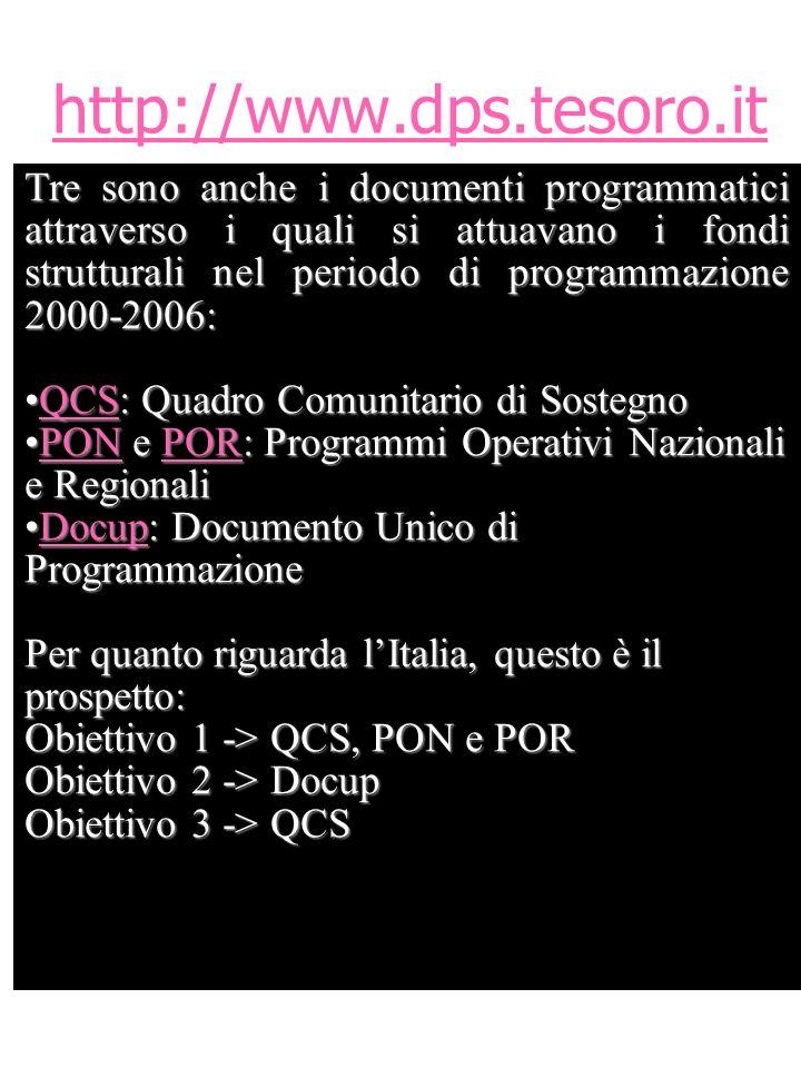 http://www.dps.tesoro.it Tre sono anche i documenti programmatici attraverso i quali si attuavano i fondi strutturali nel periodo di programmazione 2000-2006: QCS: Quadro Comunitario di SostegnoQCS: Quadro Comunitario di SostegnoQCS PON e POR: Programmi Operativi Nazionali e RegionaliPON e POR: Programmi Operativi Nazionali e RegionaliPONPORPONPOR Docup: Documento Unico di ProgrammazioneDocup: Documento Unico di ProgrammazioneDocup Per quanto riguarda lItalia, questo è il prospetto: Obiettivo 1 -> QCS, PON e POR Obiettivo 2 -> Docup Obiettivo 3 -> QCS