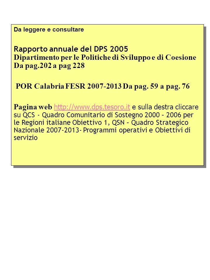 Da leggere e consultare Rapporto annuale del DPS 2005 Dipartimento per le Politiche di Sviluppo e di Coesione Da pag.202 a pag 228 POR Calabria FESR 2007-2013 Da pag.