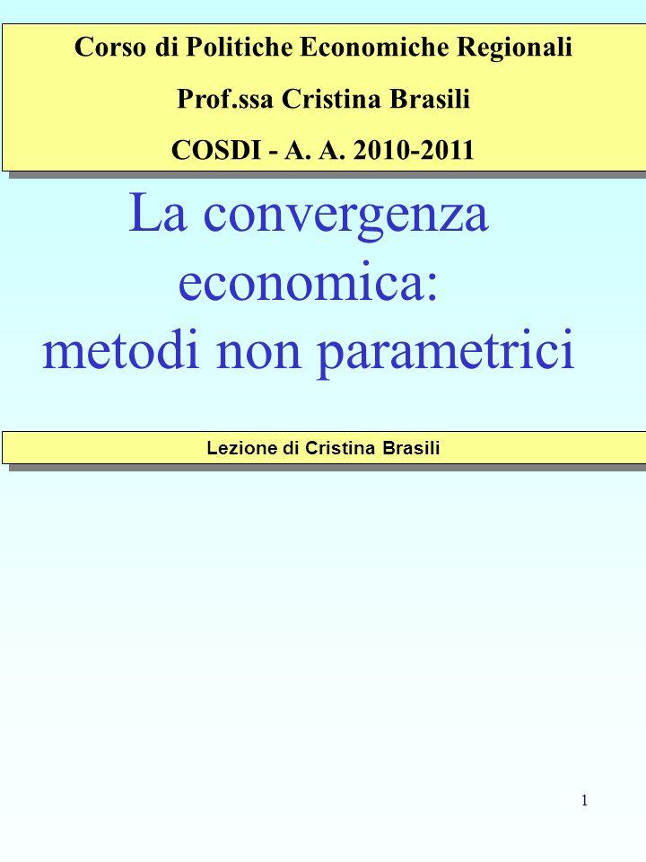 1 La convergenza economica: metodi non parametrici Lezione di Cristina Brasili Corso di Politiche Economiche Regionali Prof.ssa Cristina Brasili COSDI