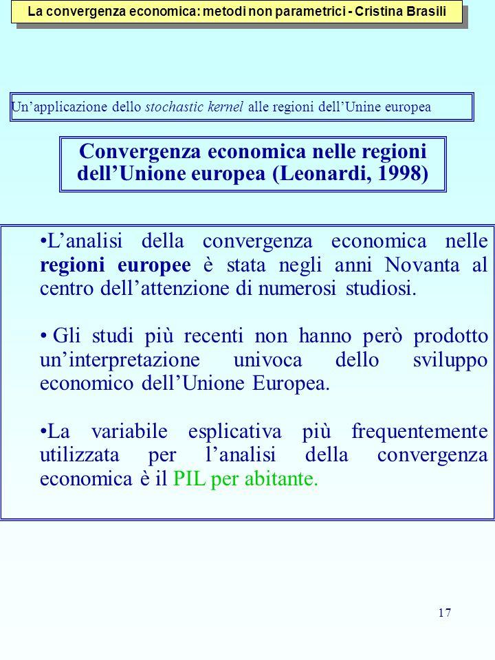 17 Convergenza economica nelle regioni dellUnione europea (Leonardi, 1998) Lanalisi della convergenza economica nelle regioni europee è stata negli an