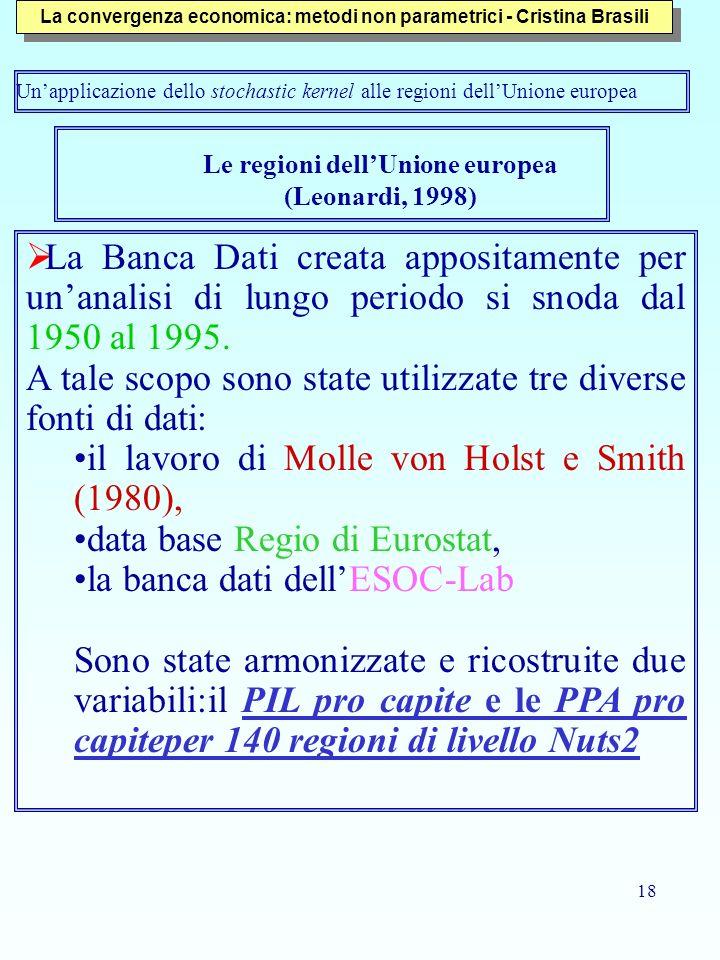18 Le regioni dellUnione europea (Leonardi, 1998) La Banca Dati creata appositamente per unanalisi di lungo periodo si snoda dal 1950 al 1995. A tale