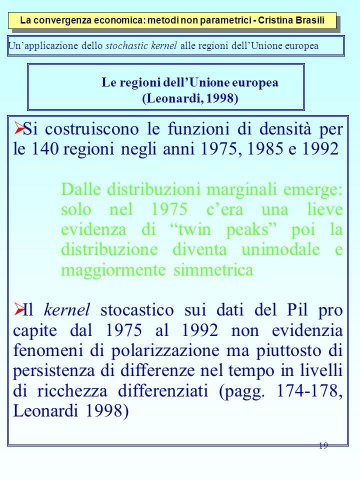 19 Le regioni dellUnione europea (Leonardi, 1998) Si costruiscono le funzioni di densità per le 140 regioni negli anni 1975, 1985 e 1992 Dalle distrib