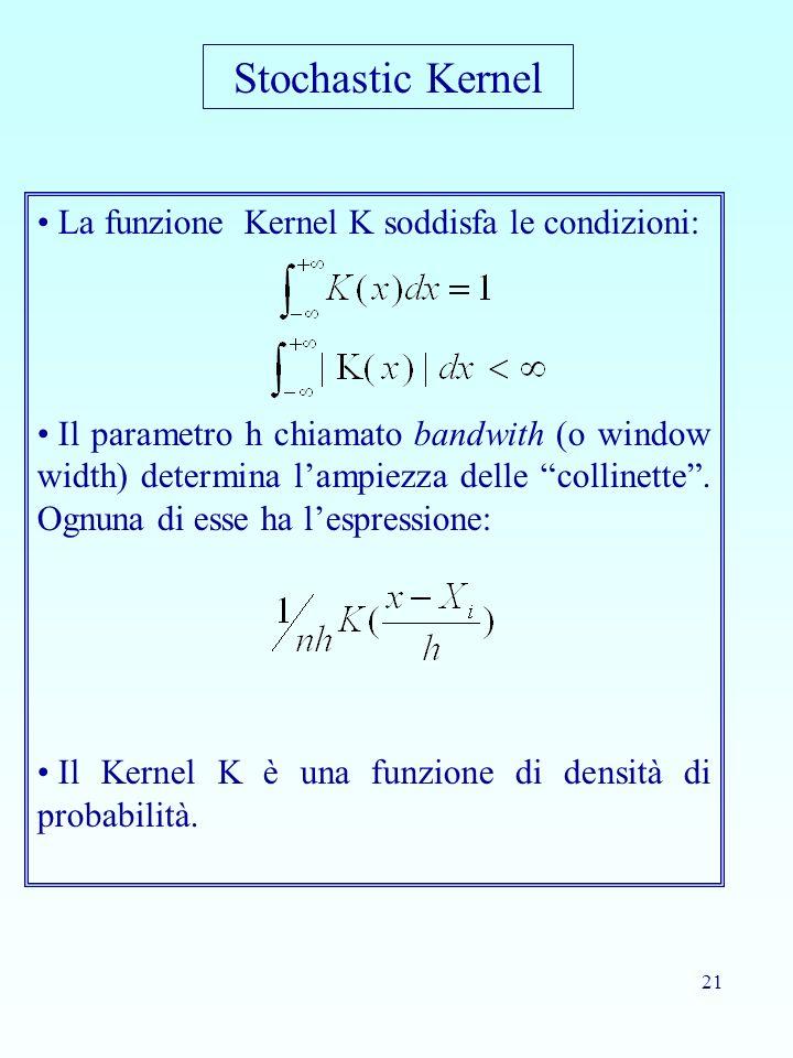 21 La funzione Kernel K soddisfa le condizioni: Il parametro h chiamato bandwith (o window width) determina lampiezza delle collinette. Ognuna di esse