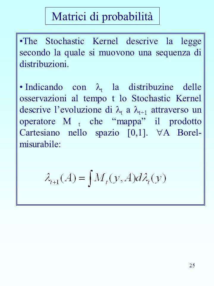 25 The Stochastic Kernel descrive la legge secondo la quale si muovono una sequenza di distribuzioni. Indicando con t la distribuzine delle osservazio