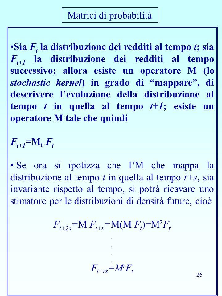 26 Sia F t la distribuzione dei redditi al tempo t; sia F t+1 la distribuzione dei redditi al tempo successivo; allora esiste un operatore M (lo stoch