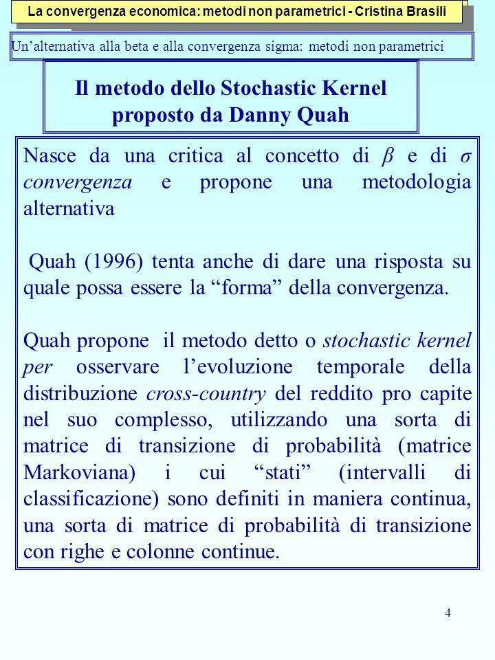4 Il metodo dello Stochastic Kernel proposto da Danny Quah Nasce da una critica al concetto di β e di σ convergenza e propone una metodologia alternat