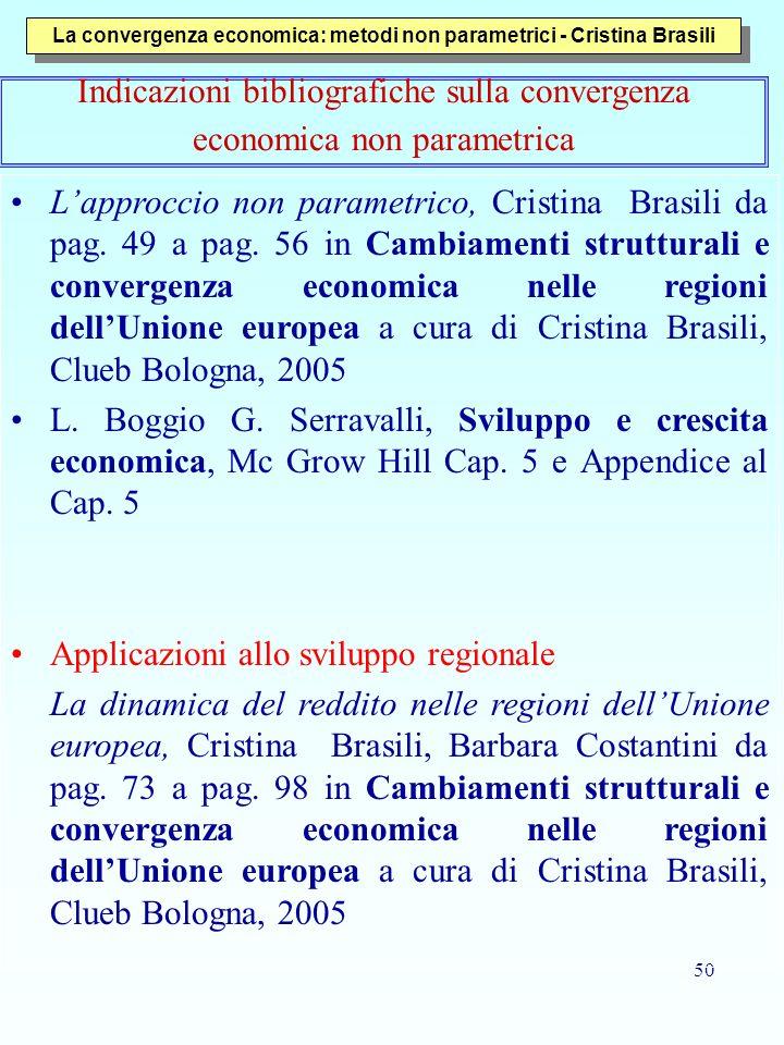 50 La convergenza economica: metodi non parametrici - Cristina Brasili Indicazioni bibliografiche sulla convergenza economica non parametrica Lapprocc