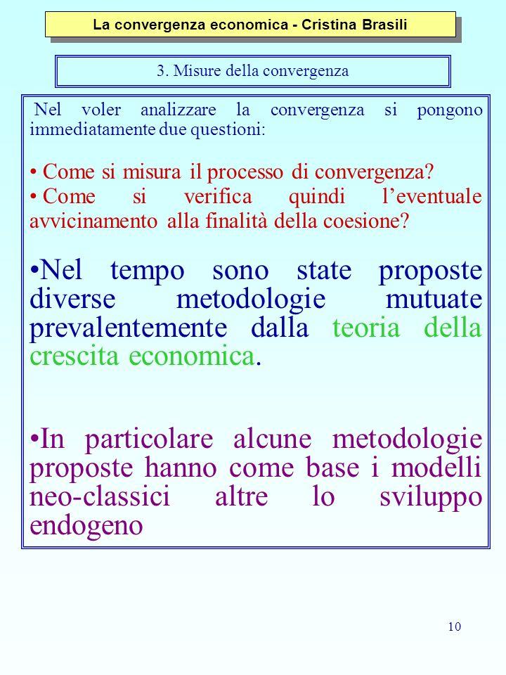 10 3. Misure della convergenza Nel voler analizzare la convergenza si pongono immediatamente due questioni: Come si misura il processo di convergenza?