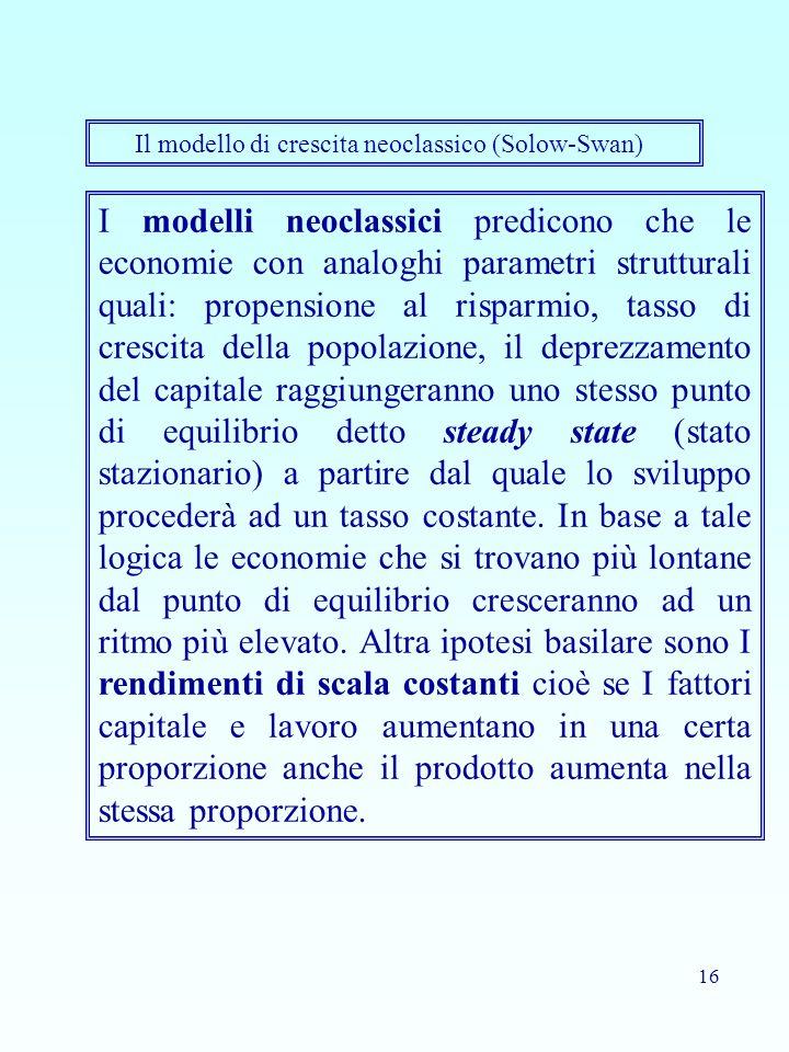 16 I modelli neoclassici predicono che le economie con analoghi parametri strutturali quali: propensione al risparmio, tasso di crescita della popolazione, il deprezzamento del capitale raggiungeranno uno stesso punto di equilibrio detto steady state (stato stazionario) a partire dal quale lo sviluppo procederà ad un tasso costante.