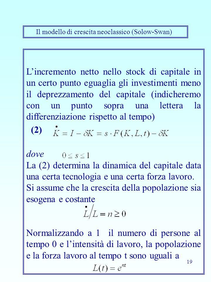 19 Lincremento netto nello stock di capitale in un certo punto eguaglia gli investimenti meno il deprezzamento del capitale (indicheremo con un punto sopra una lettera la differenziazione rispetto al tempo) (2) dove La (2) determina la dinamica del capitale data una certa tecnologia e una certa forza lavoro.