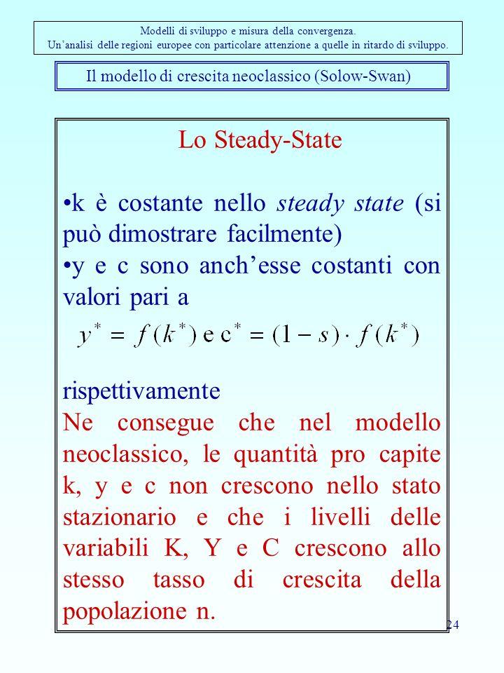 24 Il modello di crescita neoclassico (Solow-Swan) Modelli di sviluppo e misura della convergenza.