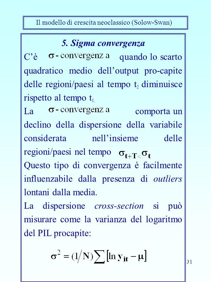 31 5. Sigma convergenza Cè quando lo scarto quadratico medio delloutput pro-capite delle regioni/paesi al tempo t 2 diminuisce rispetto al tempo t 1.