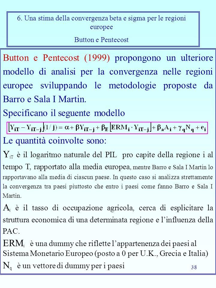 38 Button e Pentecost (1999) propongono un ulteriore modello di analisi per la convergenza nelle regioni europee sviluppando le metodologie proposte da Barro e Sala I Martin.