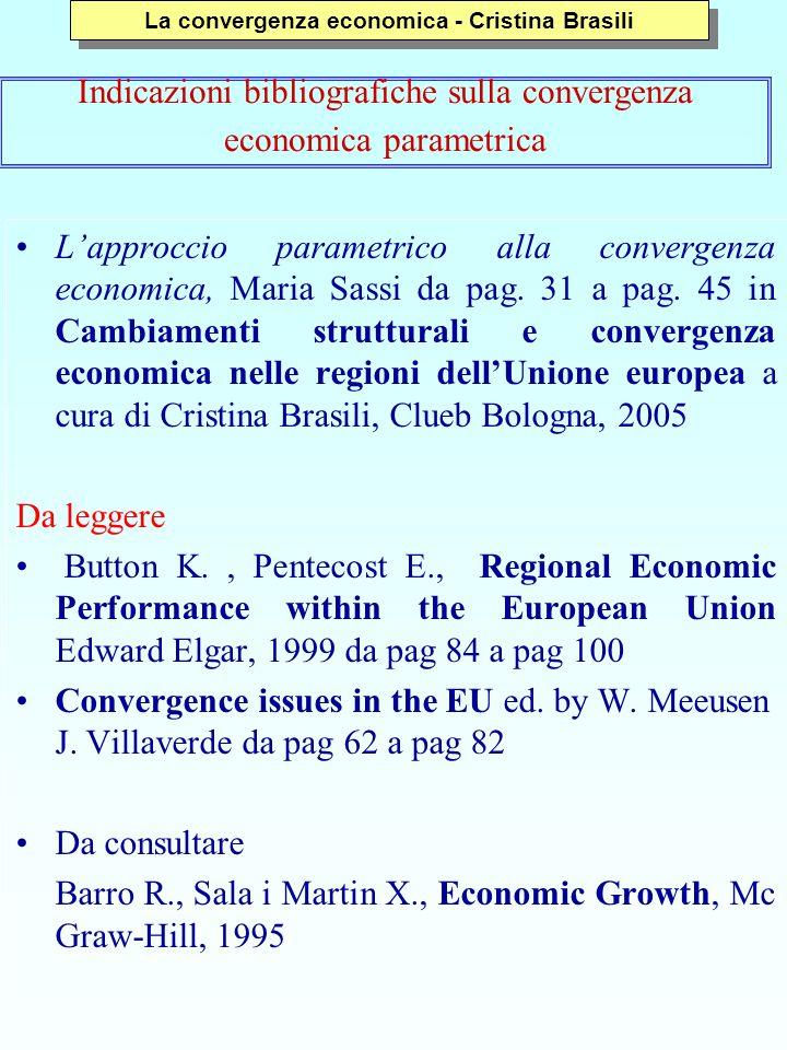 Lapproccio parametrico alla convergenza economica, Maria Sassi da pag.