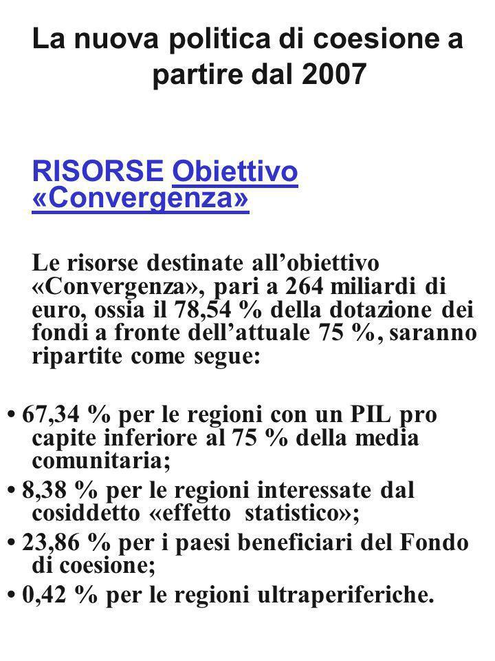 La nuova politica di coesione a partire dal 2007 RISORSE Obiettivo «Convergenza» Le risorse destinate allobiettivo «Convergenza», pari a 264 miliardi di euro, ossia il 78,54 % della dotazione dei fondi a fronte dellattuale 75 %, saranno ripartite come segue: 67,34 % per le regioni con un PIL pro capite inferiore al 75 % della media comunitaria; 8,38 % per le regioni interessate dal cosiddetto «effetto statistico»; 23,86 % per i paesi beneficiari del Fondo di coesione; 0,42 % per le regioni ultraperiferiche.
