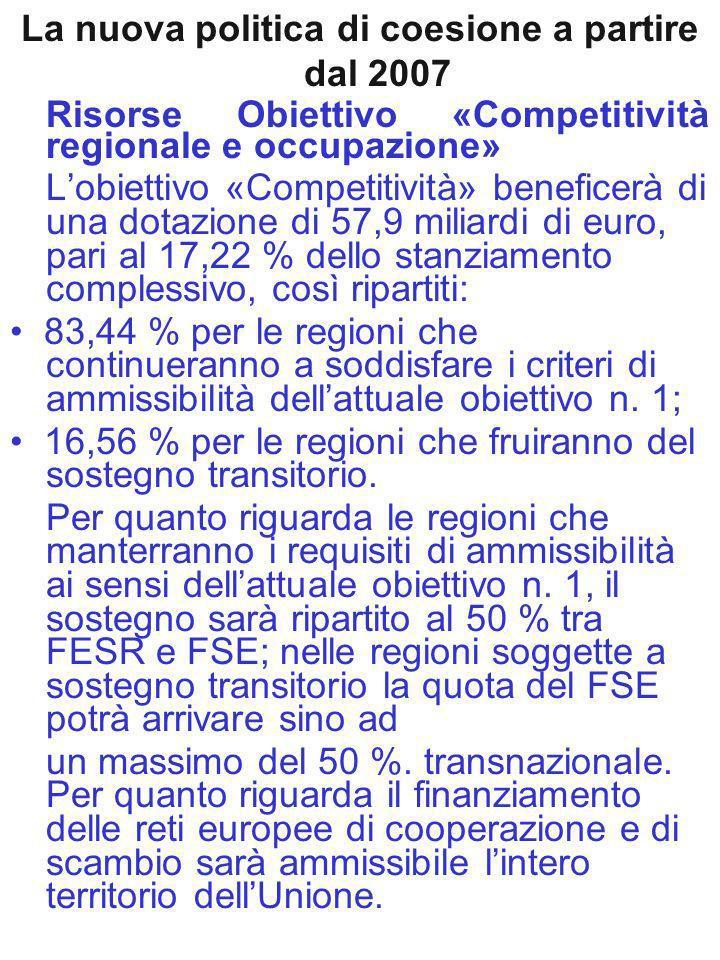 La nuova politica di coesione a partire dal 2007 Risorse Obiettivo «Competitività regionale e occupazione» Lobiettivo «Competitività» beneficerà di una dotazione di 57,9 miliardi di euro, pari al 17,22 % dello stanziamento complessivo, così ripartiti: 83,44 % per le regioni che continueranno a soddisfare i criteri di ammissibilità dellattuale obiettivo n.