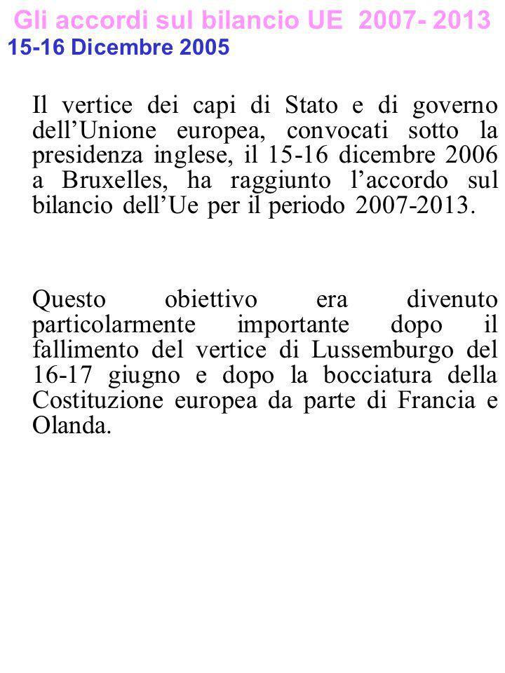 Gli accordi sul bilancio UE 2007- 2013 15-16 Dicembre 2005 Il vertice dei capi di Stato e di governo dellUnione europea, convocati sotto la presidenza inglese, il 15-16 dicembre 2006 a Bruxelles, ha raggiunto laccordo sul bilancio dellUe per il periodo 2007-2013.