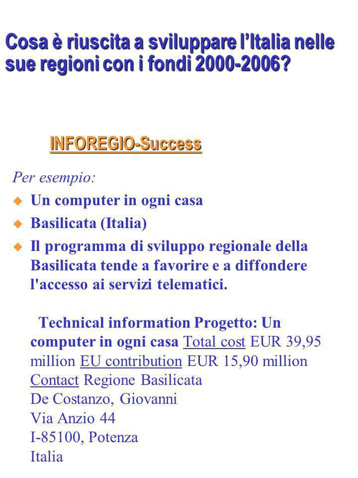 http://ec.europa.eu/regional_policy/projects/st ories/search.cfm?LAN=EN&pay=IT&region=AL L&the=ALL http://ec.europa.eu/regional_policy/projects/st ories/search.cfm?LAN=EN&pay=IT&region=AL L&the=ALL Per esempio: Ritorno al futuro: riconversione industriale nellarea Nord di Milano Lombardia (Italia) Il progetto ASNM (Agenzia di Sviluppo Nord Milano) persegue un obiettivo comunitario: laumento della competitività delle regioni europee attraverso lutilizzo dei Fondi strutturali.