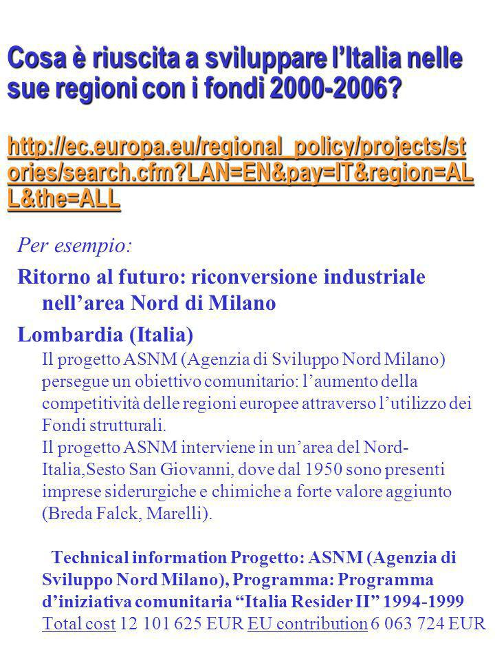 http://ec.europa.eu/regional_policy/projects/st ories/search.cfm LAN=EN&pay=IT&region=AL L&the=ALL http://ec.europa.eu/regional_policy/projects/st ories/search.cfm LAN=EN&pay=IT&region=AL L&the=ALL Per esempio: Ritorno al futuro: riconversione industriale nellarea Nord di Milano Lombardia (Italia) Il progetto ASNM (Agenzia di Sviluppo Nord Milano) persegue un obiettivo comunitario: laumento della competitività delle regioni europee attraverso lutilizzo dei Fondi strutturali.