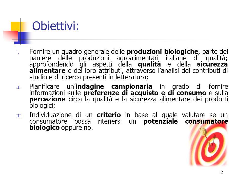 2 Obiettivi: I. Fornire un quadro generale delle produzioni biologiche, parte del paniere delle produzioni agroalimentari italiane di qualità; approfo