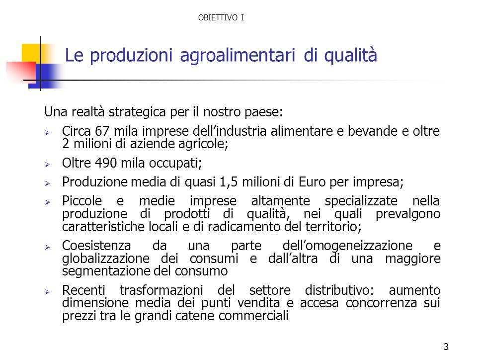 3 Le produzioni agroalimentari di qualità Una realtà strategica per il nostro paese: Circa 67 mila imprese dellindustria alimentare e bevande e oltre
