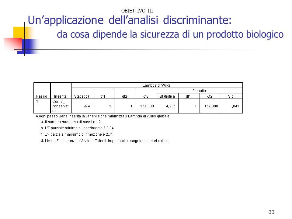33 Unapplicazione dellanalisi discriminante: da cosa dipende la sicurezza di un prodotto biologico OBIETTIVO III