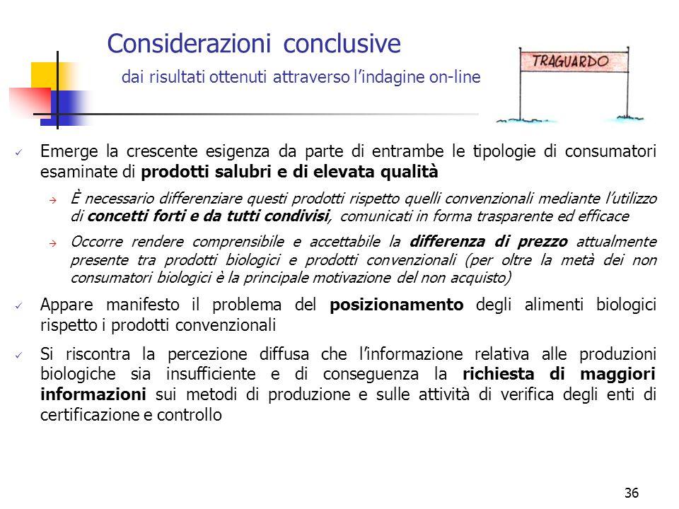 36 Considerazioni conclusive Emerge la crescente esigenza da parte di entrambe le tipologie di consumatori esaminate di prodotti salubri e di elevata
