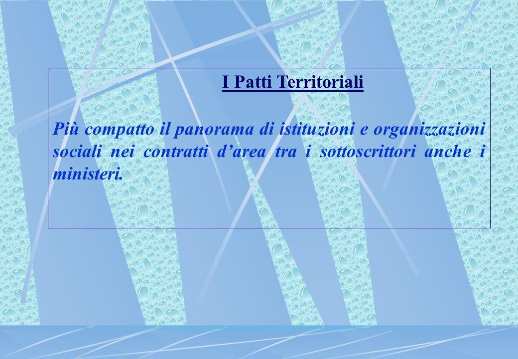 I Patti Territoriali Più compatto il panorama di istituzioni e organizzazioni sociali nei contratti darea tra i sottoscrittori anche i ministeri.