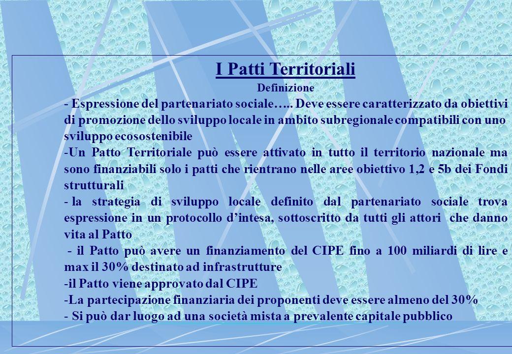 I Patti Territoriali Definizione - Espressione del partenariato sociale…..