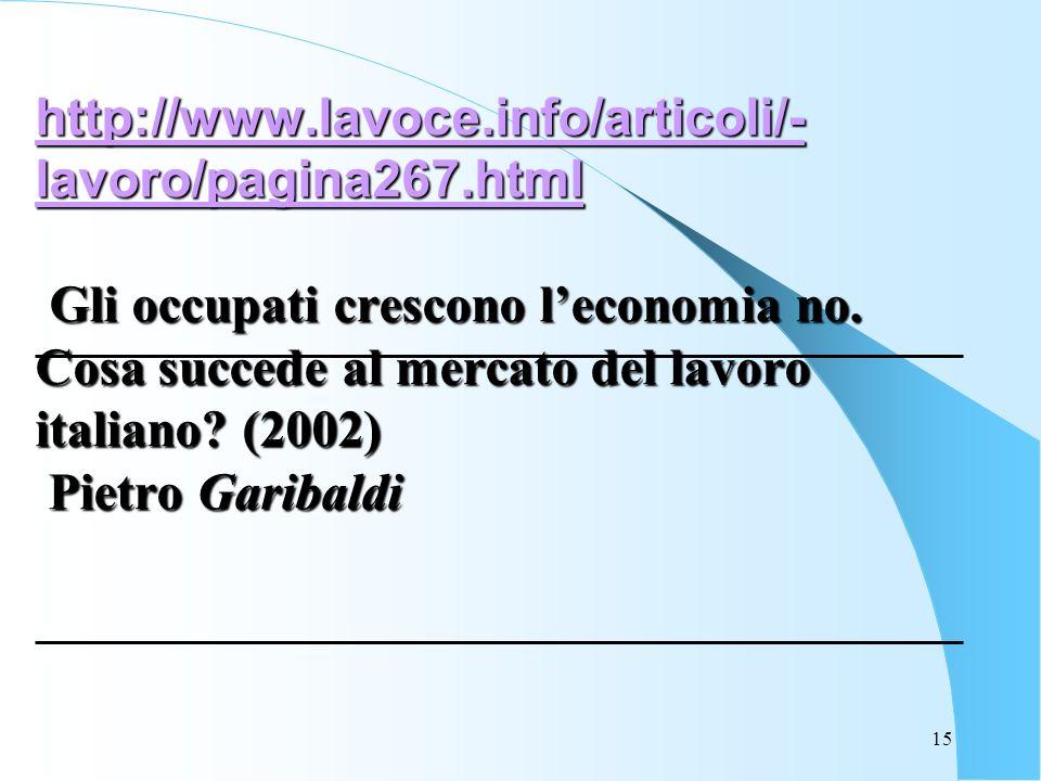 15 http://www.lavoce.info/articoli/- lavoro/pagina267.html http://www.lavoce.info/articoli/- lavoro/pagina267.html Gli occupati crescono leconomia no.
