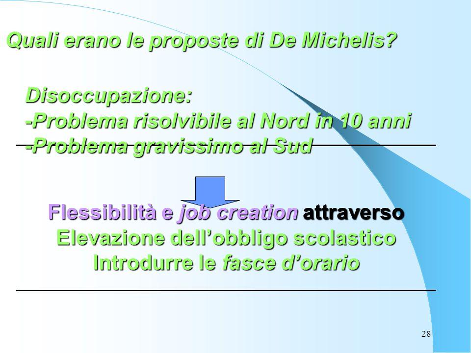 28 Quali erano le proposte di De Michelis? Disoccupazione: -Problema risolvibile al Nord in 10 anni -Problema gravissimo al Sud Flessibilità e job cre