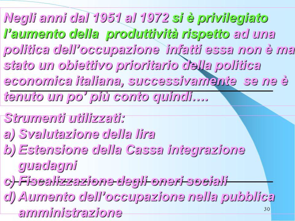 30 Negli anni dal 1951 al 1972 si è privilegiato laumento della produttività rispetto ad una politica delloccupazione infatti essa non è mai stato un obiettivo prioritario della politica economica italiana, successivamente se ne è tenuto un po più conto quindi….