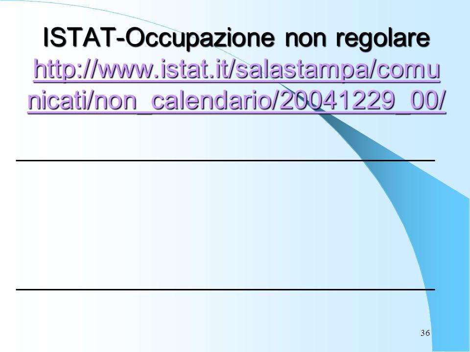36 ISTAT-Occupazione non regolare http://www.istat.it/salastampa/comu nicati/non_calendario/20041229_00/ http://www.istat.it/salastampa/comu nicati/non_calendario/20041229_00/ http://www.istat.it/salastampa/comu nicati/non_calendario/20041229_00/