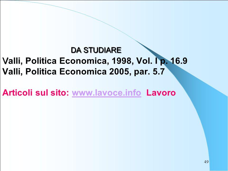 49 DA STUDIARE V DA STUDIARE Valli, Politica Economica, 1998, Vol. I p. 16.9 Valli, Politica Economica 2005, par. 5.7 Articoli sul sito: www.lavoce.in