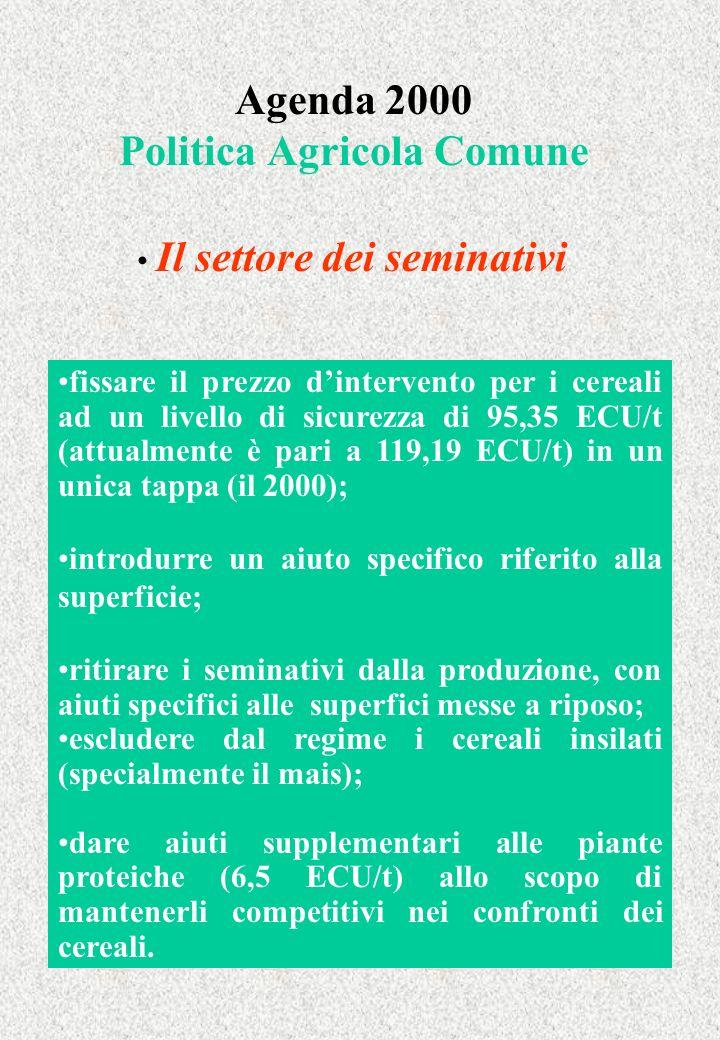 Agenda 2000 Politica Agricola Comune Il settore dei seminativi fissare il prezzo dintervento per i cereali ad un livello di sicurezza di 95,35 ECU/t (