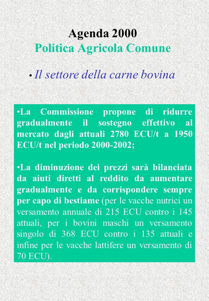 Agenda 2000 Politica Agricola Comune Il settore della carne bovina La Commissione propone di ridurre gradualmente il sostegno effettivo al mercato dag