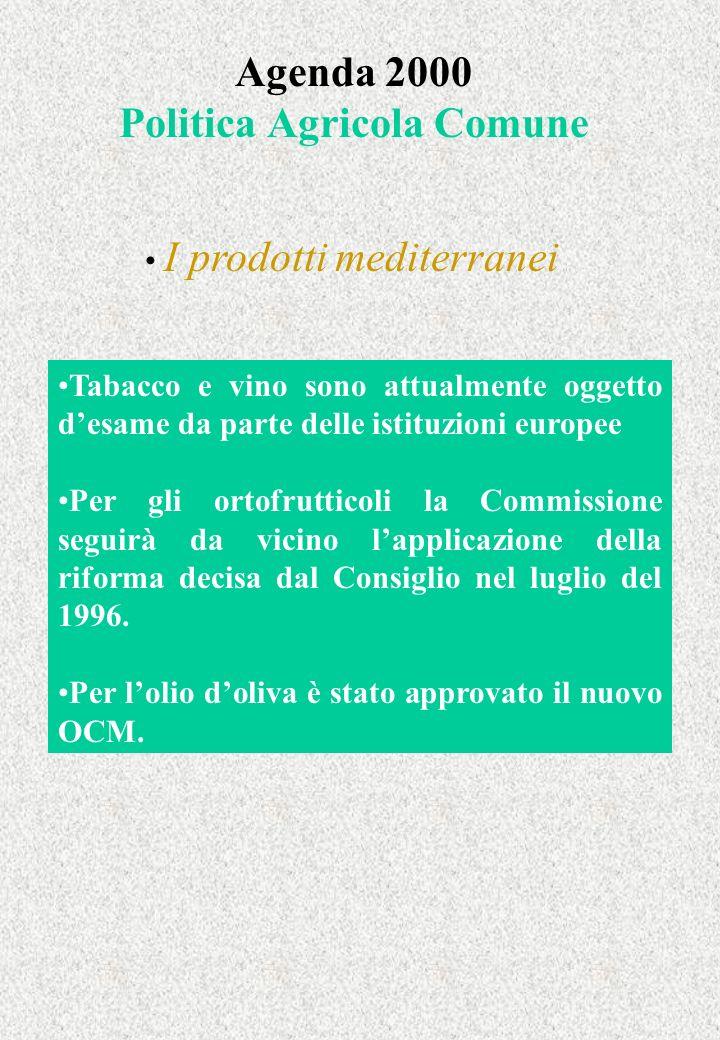 Agenda 2000 Politica Agricola Comune I prodotti mediterranei Tabacco e vino sono attualmente oggetto desame da parte delle istituzioni europee Per gli ortofrutticoli la Commissione seguirà da vicino lapplicazione della riforma decisa dal Consiglio nel luglio del 1996.