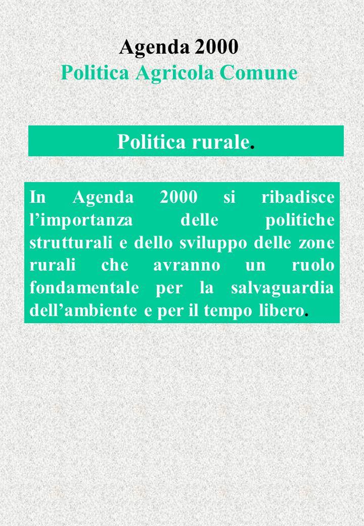 Agenda 2000 Politica Agricola Comune In Agenda 2000 si ribadisce limportanza delle politiche strutturali e dello sviluppo delle zone rurali che avranno un ruolo fondamentale per la salvaguardia dellambiente e per il tempo libero.
