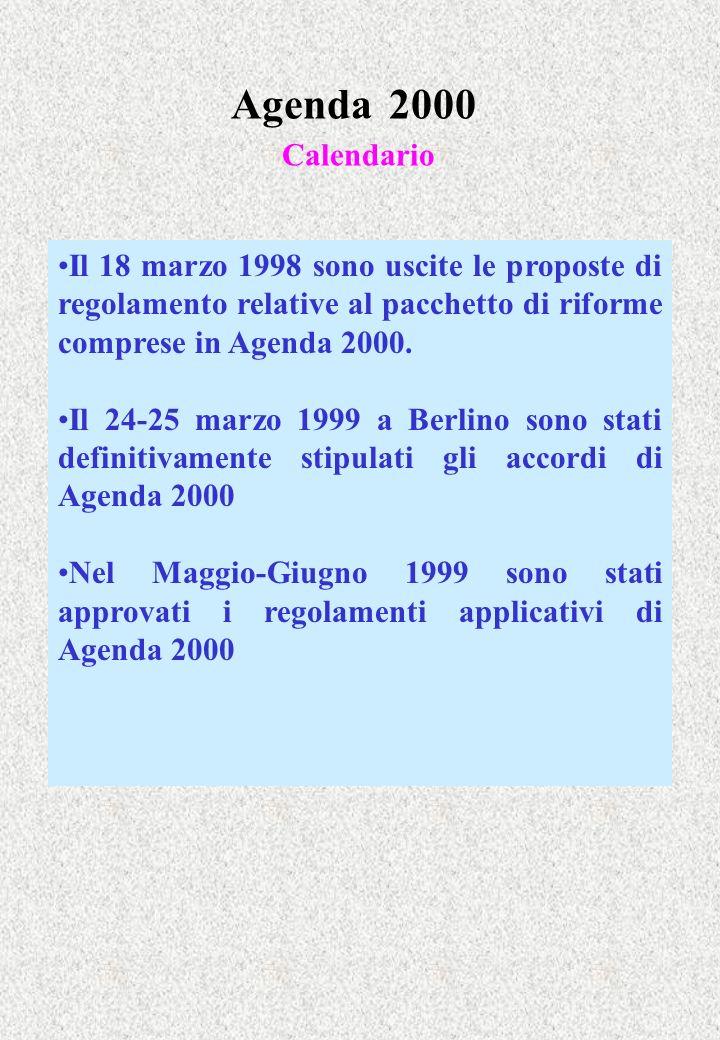 Agenda 2000 Calendario Il 18 marzo 1998 sono uscite le proposte di regolamento relative al pacchetto di riforme comprese in Agenda 2000. Il 24-25 marz