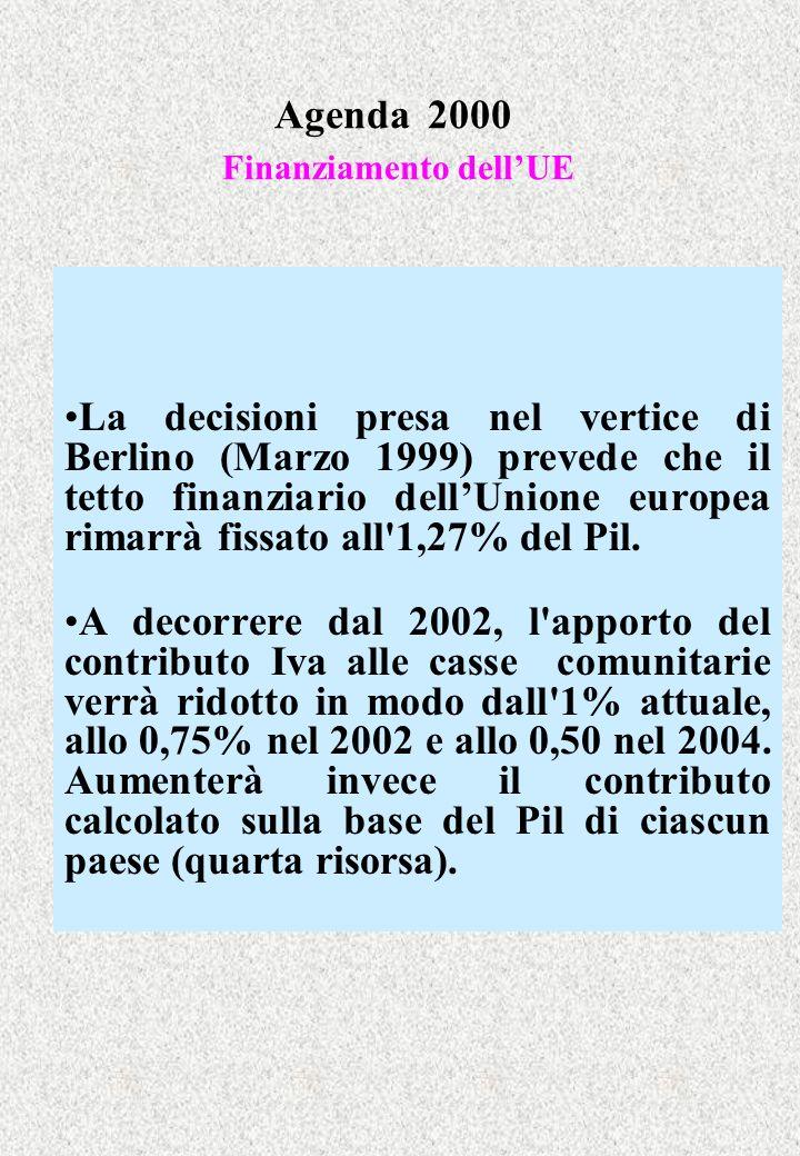 Agenda 2000 Finanziamento dellUE La decisioni presa nel vertice di Berlino (Marzo 1999) prevede che il tetto finanziario dellUnione europea rimarrà fi