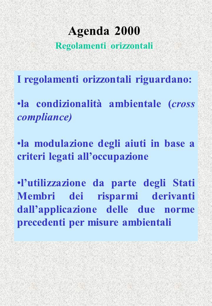 Agenda 2000 Regolamenti orizzontali I regolamenti orizzontali riguardano: la condizionalità ambientale (cross compliance) la modulazione degli aiuti in base a criteri legati alloccupazione lutilizzazione da parte degli Stati Membri dei risparmi derivanti dallapplicazione delle due norme precedenti per misure ambientali