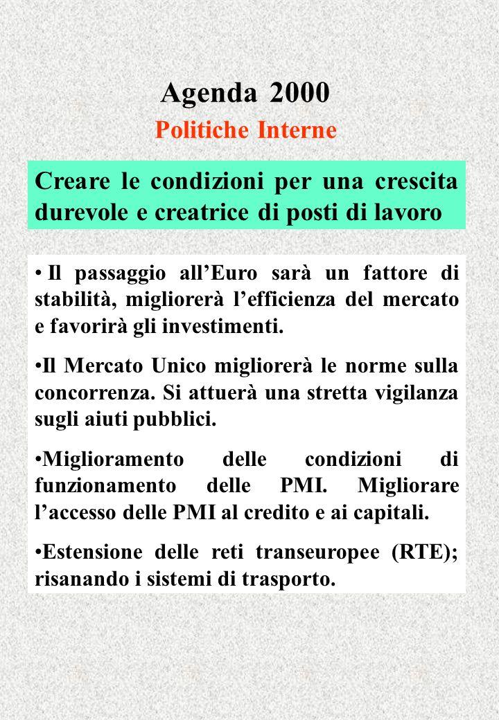 Agenda 2000 Politiche Interne Creare le condizioni per una crescita durevole e creatrice di posti di lavoro Il passaggio allEuro sarà un fattore di st