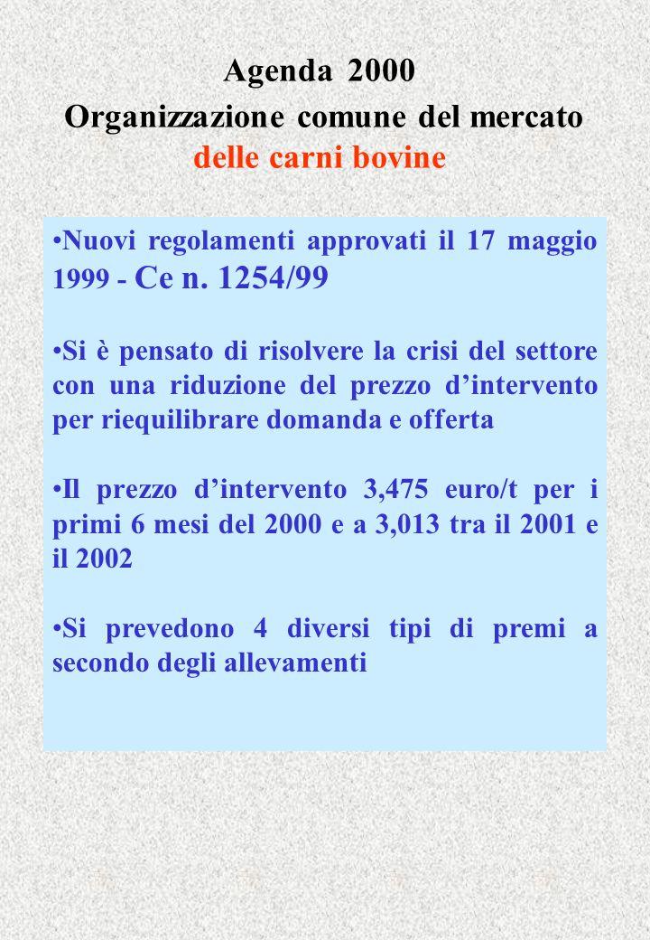 Agenda 2000 Organizzazione comune del mercato delle carni bovine Nuovi regolamenti approvati il 17 maggio 1999 - Ce n.