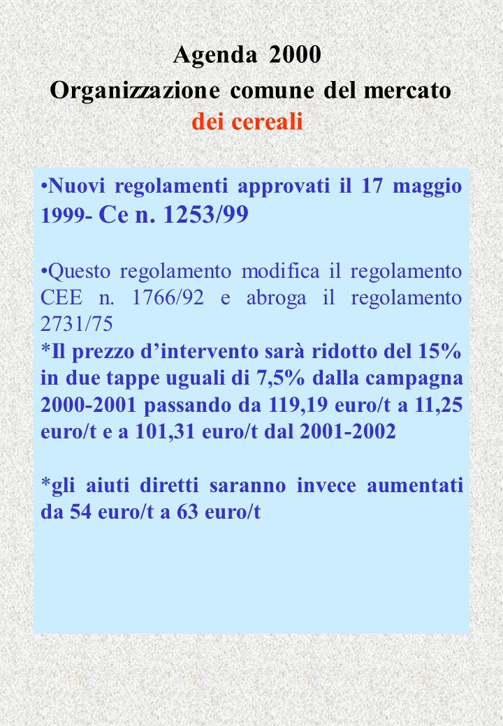 Agenda 2000 Organizzazione comune del mercato dei cereali Nuovi regolamenti approvati il 17 maggio 1999- Ce n. 1253/99 Questo regolamento modifica il