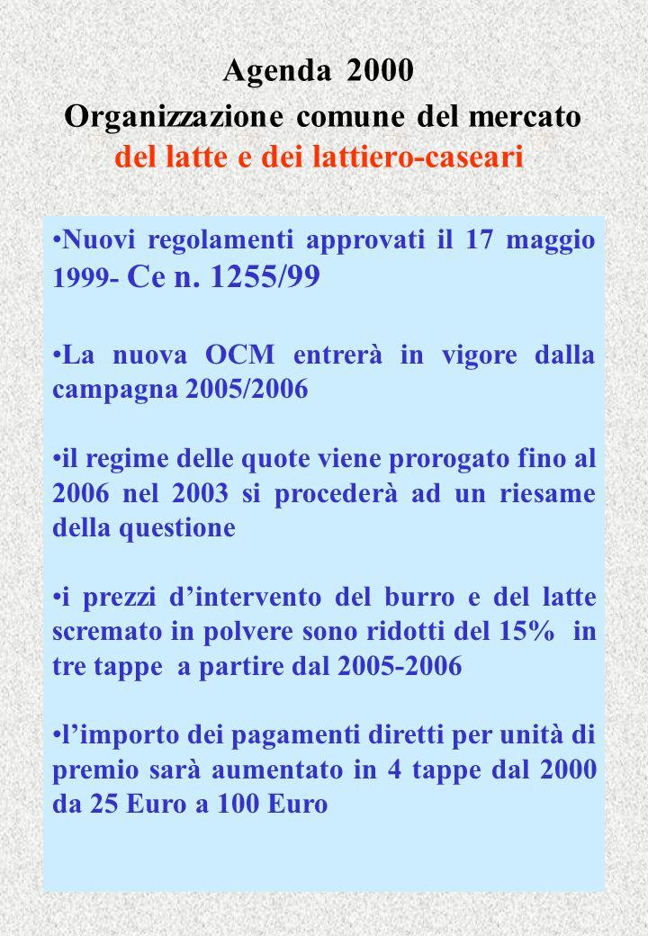 Agenda 2000 Organizzazione comune del mercato del latte e dei lattiero-caseari Nuovi regolamenti approvati il 17 maggio 1999- Ce n. 1255/99 La nuova O