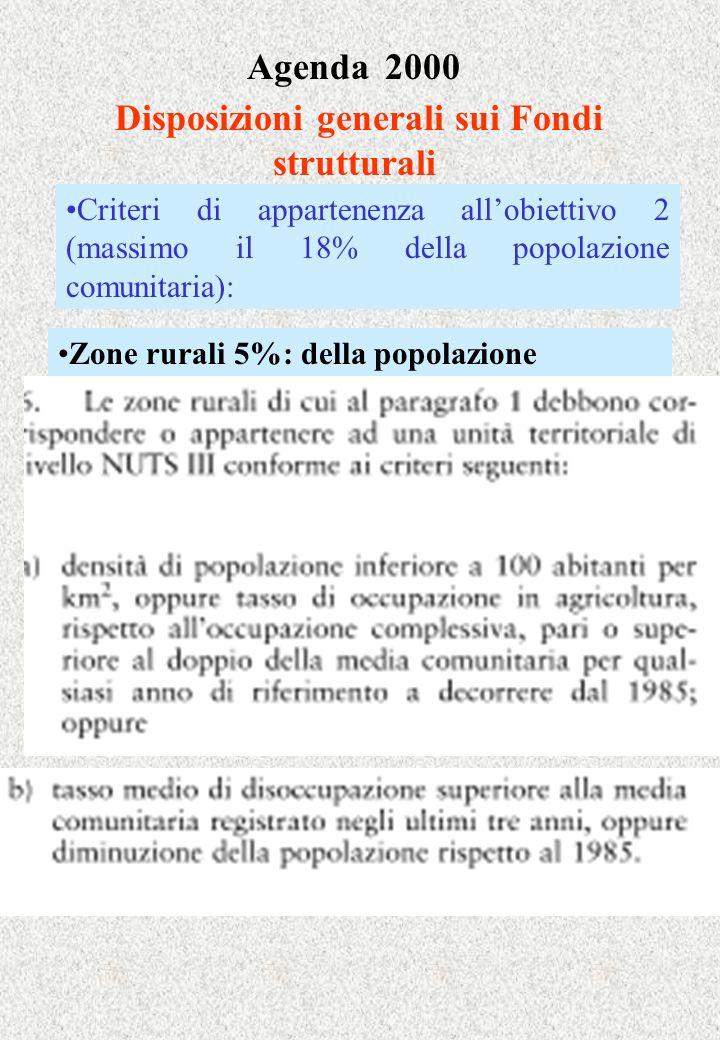 Agenda 2000 Disposizioni generali sui Fondi strutturali Zone rurali 5%: della popolazione Criteri di appartenenza allobiettivo 2 (massimo il 18% della