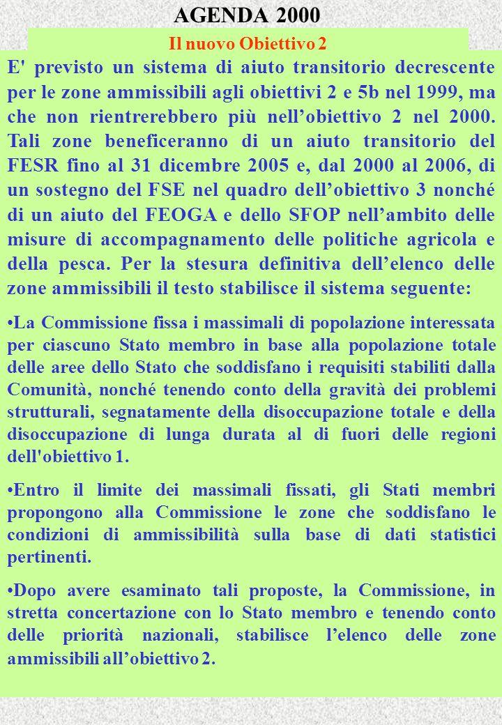 AGENDA 2000 Il nuovo Obiettivo 2 E previsto un sistema di aiuto transitorio decrescente per le zone ammissibili agli obiettivi 2 e 5b nel 1999, ma che non rientrerebbero più nellobiettivo 2 nel 2000.